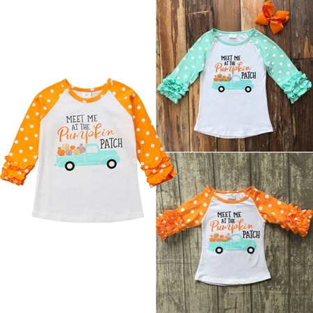 Halloween Toddler Baby Kids Girl Meet Me At The Pumpkin Patch Long Sleeve Tops Cotton T-shirt Thanksgiving Cosutme