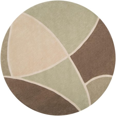 8 Triantan Sage Green Tan And Brown Hand Tufted Round
