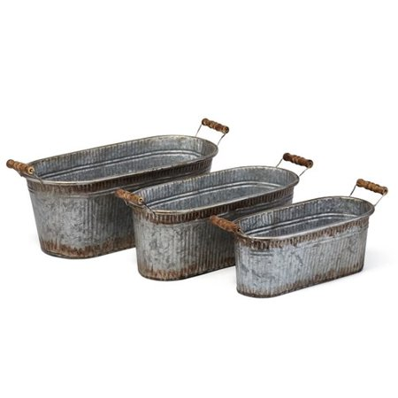 Uniquely Adorning Galvanized Sheet Antique Planters, Gray (Set of 3)