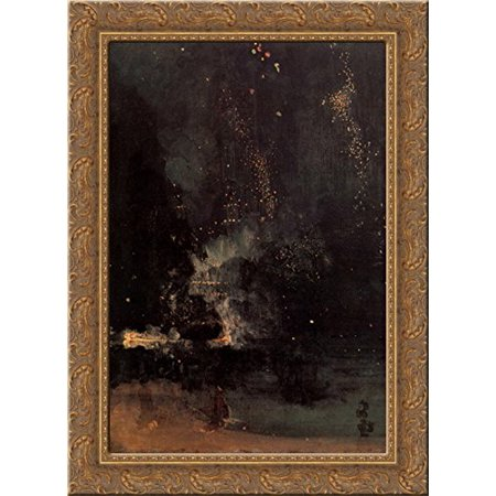 Nocturne in Black and Gold: The Falling Rocket 19x24 Gold Ornate Wood Framed Canvas Art by Whistler, James Abbott
