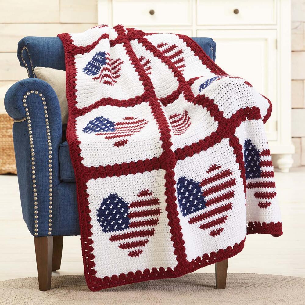 Red Heart American Hearts Crochet Afghan Kit Walmart