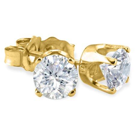 14k Yellow Gold, Round, Diamond Stud (Other Gemstone Earrings)