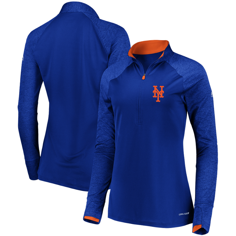 New York Mets Majestic Women's Extremely Clear Cool Base Raglan 1 2-Zip Jacket Royal by MAJESTIC LSG