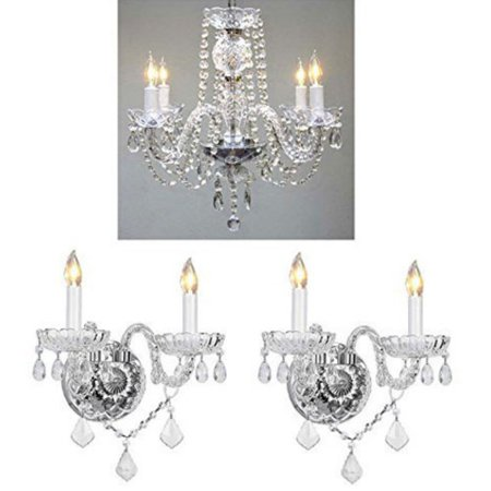 Clear Flush Sconce (Harrison Lane T22-1006 3 Piece Chandelier and Wall Sconce Set)