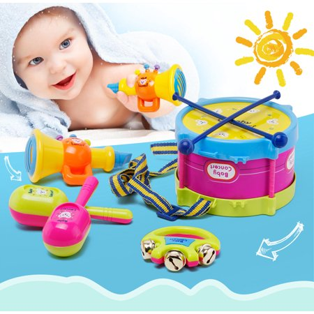 Baby Concert Toys 5PC New Roll Drum Musical Instruments Band Kit Unisex Colorful Educational Learning and Development Toys Gift for Toddler Infant Newborn Children Kids Boys Girls (Best Toddler Educational Toys)