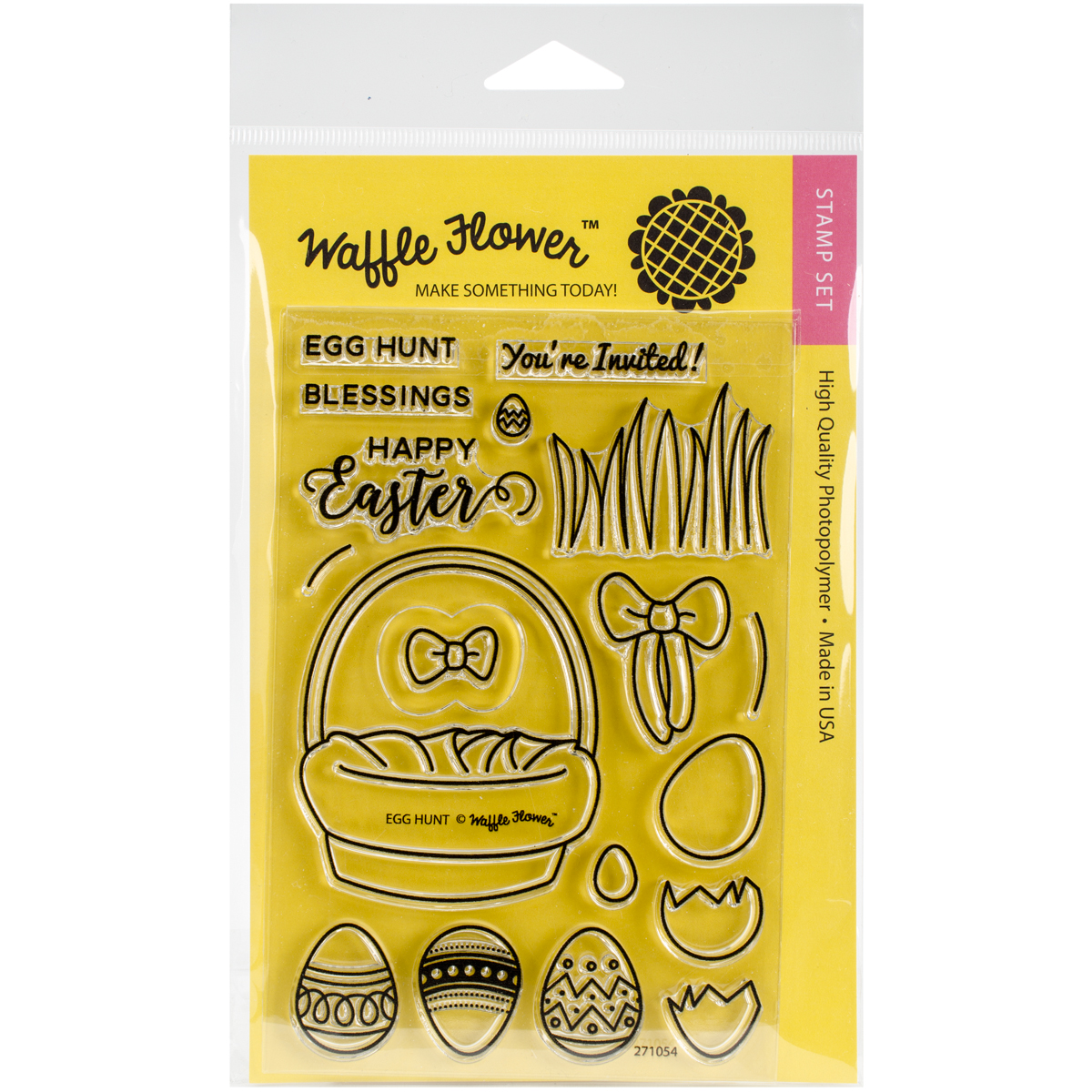 "Waffle Flower Crafts Clear Stamps, 4"" x 6"", Egg Hunt"