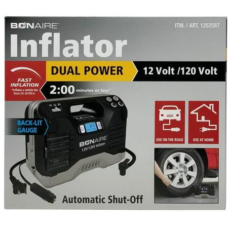 Bonaire Inflator Dual Power 12/120 Volt, Fast, Automatic Shut-Off, Digital Gauge