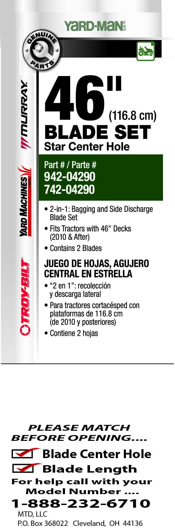 Mtd 46 Twin Mower Blade Set 942 04290 Deck Belt Diagram Yardman Cutting Riding Lawn