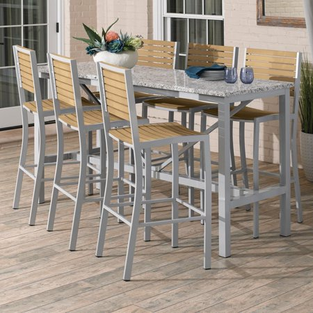 Image of Travira 7 Piece Aluminum Patio Bar Set W/ 72 X 30 Inch Retangular Lite-Core Ash Table & Tekwood Natural Bar Stools By Oxford Garden