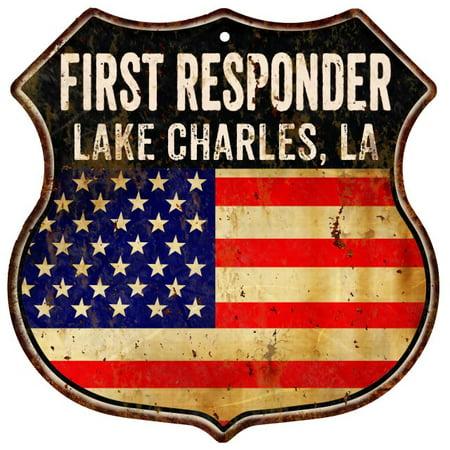 LAKE CHARLES, LA First Responder USA 12x12 Metal Sign Fire Police 211110022439 ()