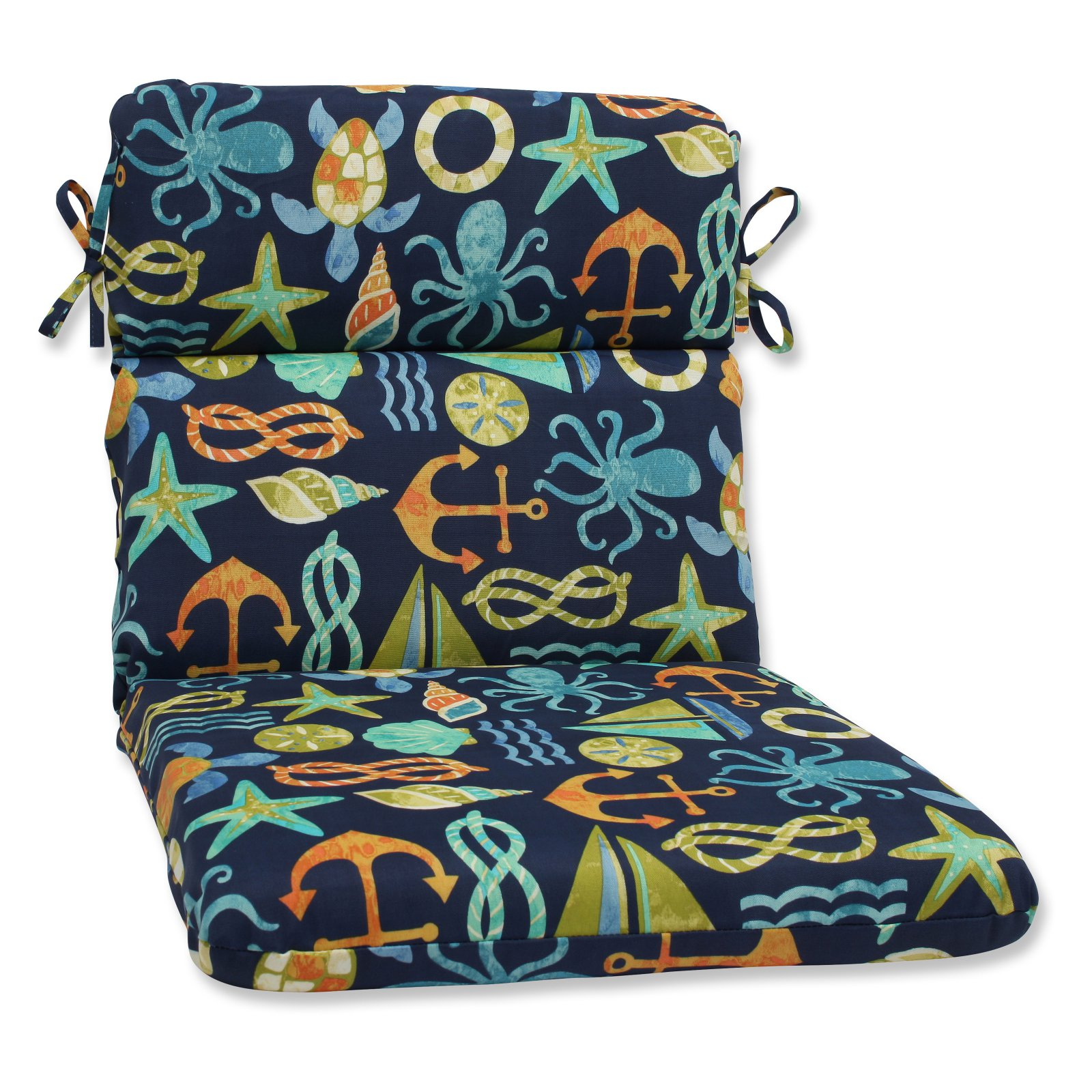 Pillow Perfect Outdoor/ Indoor Seapoint Neptune Rounded Corners Chair Cushion