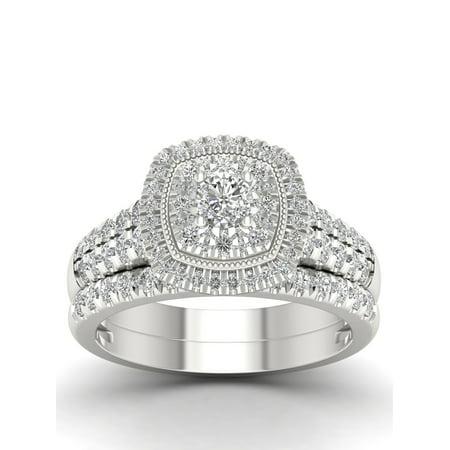 IGI Certified Imperial 1Ct TDW Diamond 14k White Gold Double Halo Bridal Set (H-I, I2) (Imperial Glass Ohio Diamond)