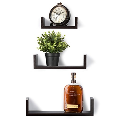 floating shelves set of 3 wall shelves espresso finish wooden rh walmart com 3 inch deep wall shelves 3 small wall shelves