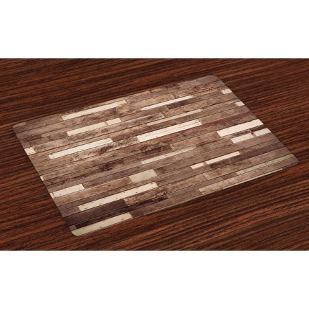 Wooden Placemats Set of 4 Wall Floor Textured Planks Panels Picture Art Print Grain Cottage Lodge Hardwood Pattern, Washable Fabric Place Mats for Dining Room Kitchen Table Decor,Brown, by Ambesonne