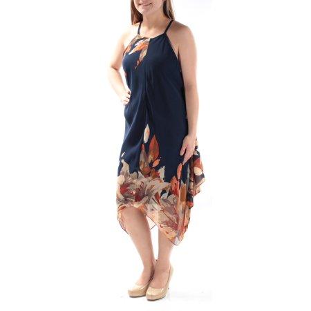 - INC Womens Navy Floral Spaghetti Strap Jewel Neck Midi Trapeze Dress  Size: 10