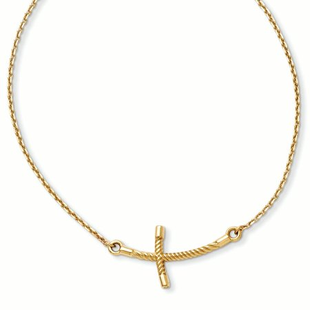 14k Yellow Gold Large Sideways Curved Twist Cross Religious Chain Necklace Pendant Charm Crucifix
