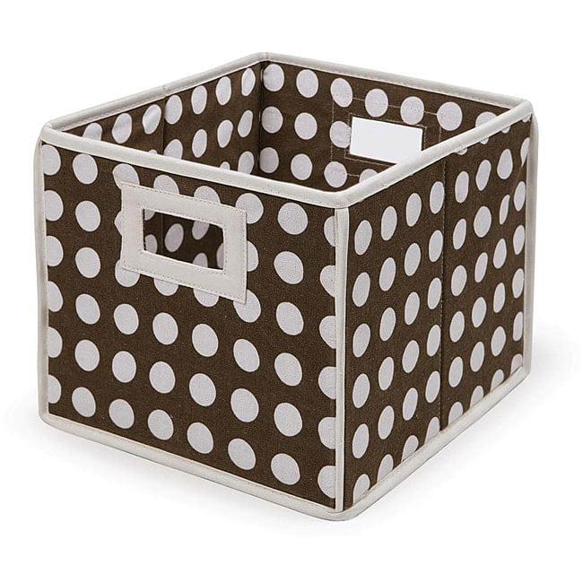 Badger Basket Brown Polka Dot Folding Baskets (Pack of 3) by Overstock