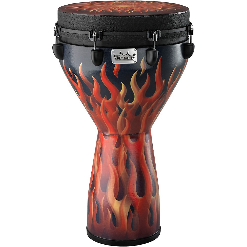 "Remo Designer Series 14""x25"" Key-tuned Djembe, Flame Finish"