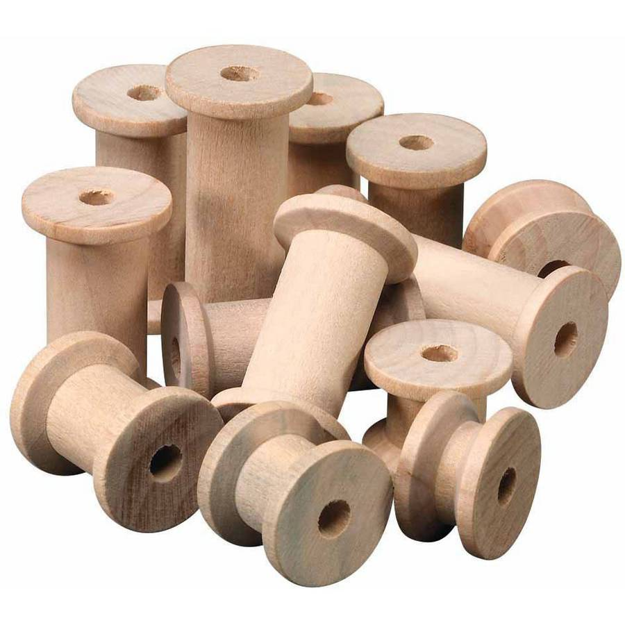 "Chenille Kraft Wood Craft Spool, 0.5"" x 2"", Pack of 60"