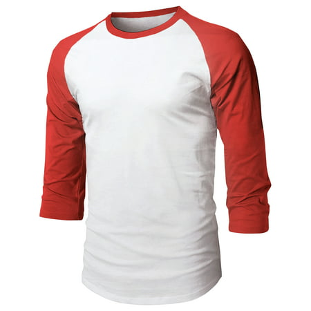 Mens Baseball Raglan 3/4 Sleeve Plain Jersey Team Uniform Athletic Sportswear T Shirt