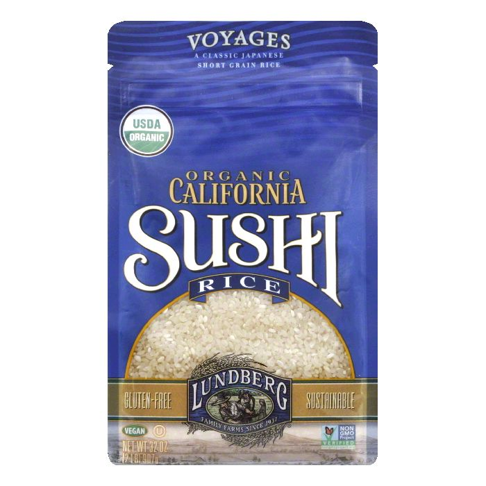 Lundberg Gluten Free Rice Organic Sushi Short Grain, 32 OZ (Pack of 6)