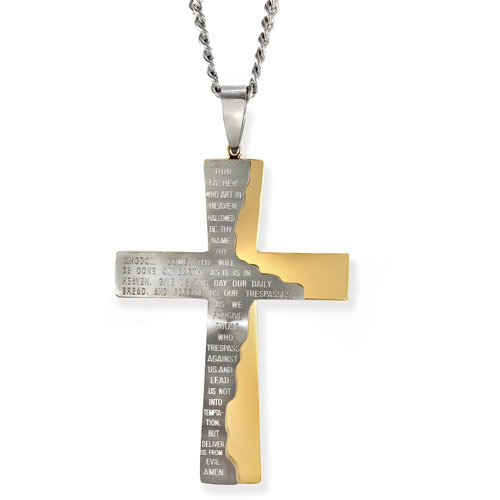 Men's Yellow and White Stainless Steel Tablet Prayer Cross Pendant, 24""
