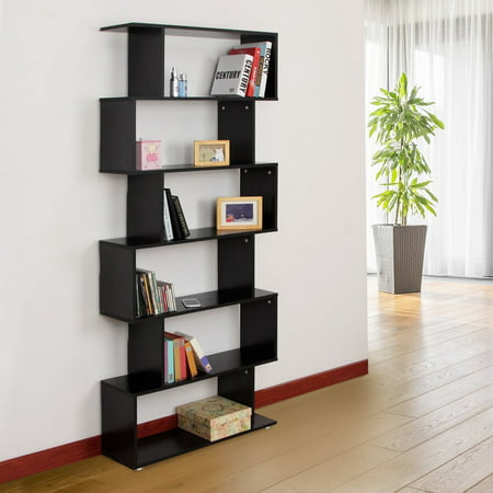 Wooden S Shape Bookcase 6 Shelves Storage Display Home Office Furniture - image 1 of 7