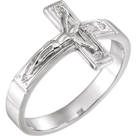 Roy Rose Jewelry 14K White Gold Crucifix Chastity Ring Size 7 Crucifix Chastity Ring
