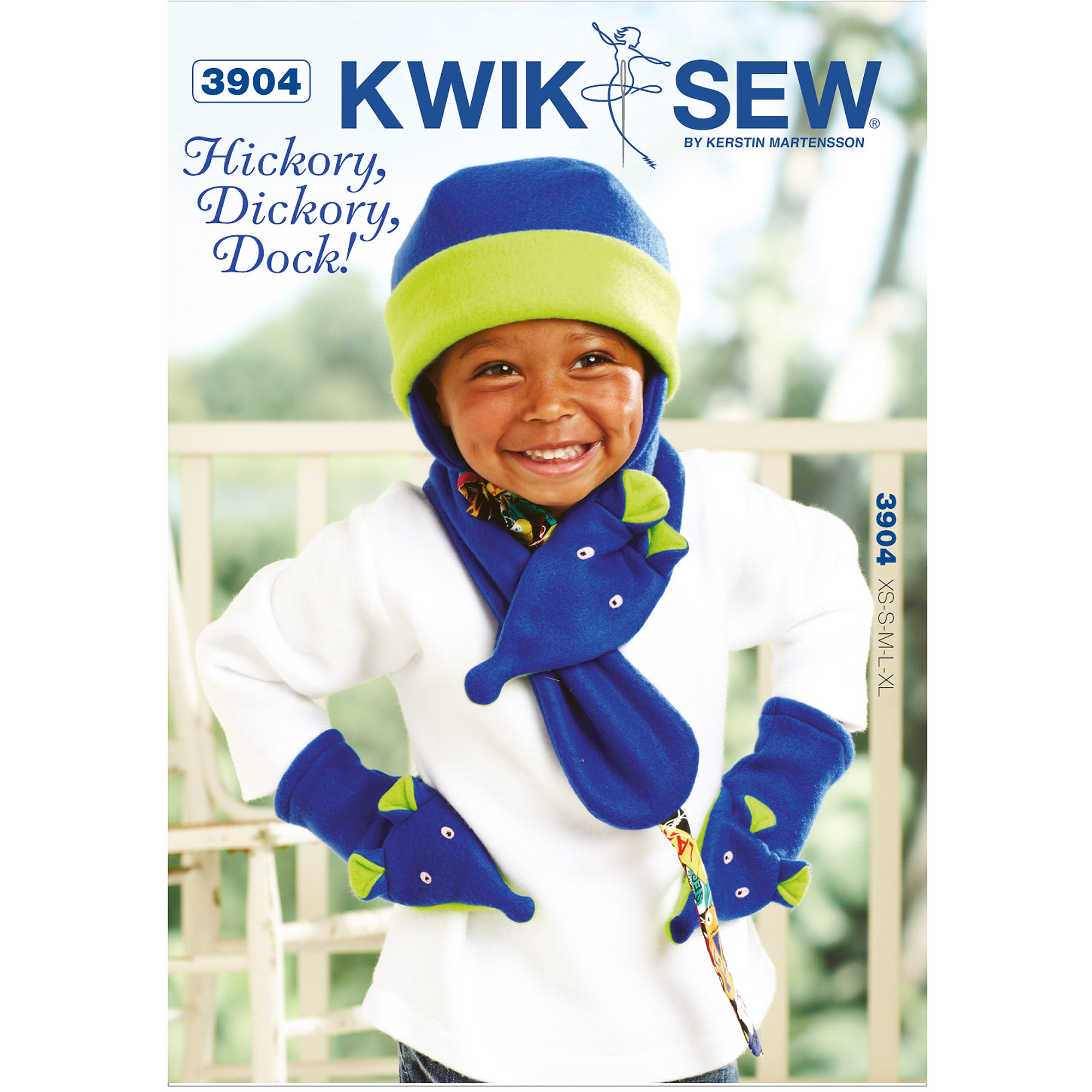 Kwik Sew Pattern Hickory, Dickory, Dock! Hat: (XS, S, M, L, XL), Scarf: One Size