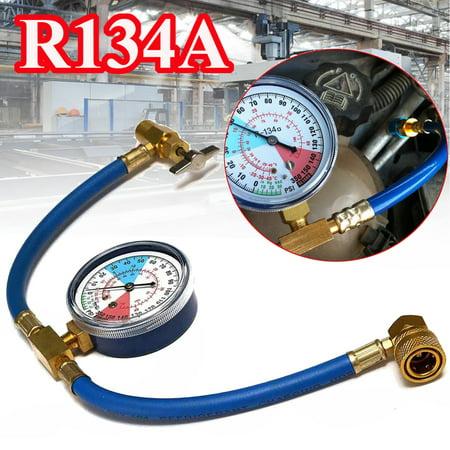 R134a AC HVAC Measuring Hose Can Tap w/ Gauge -