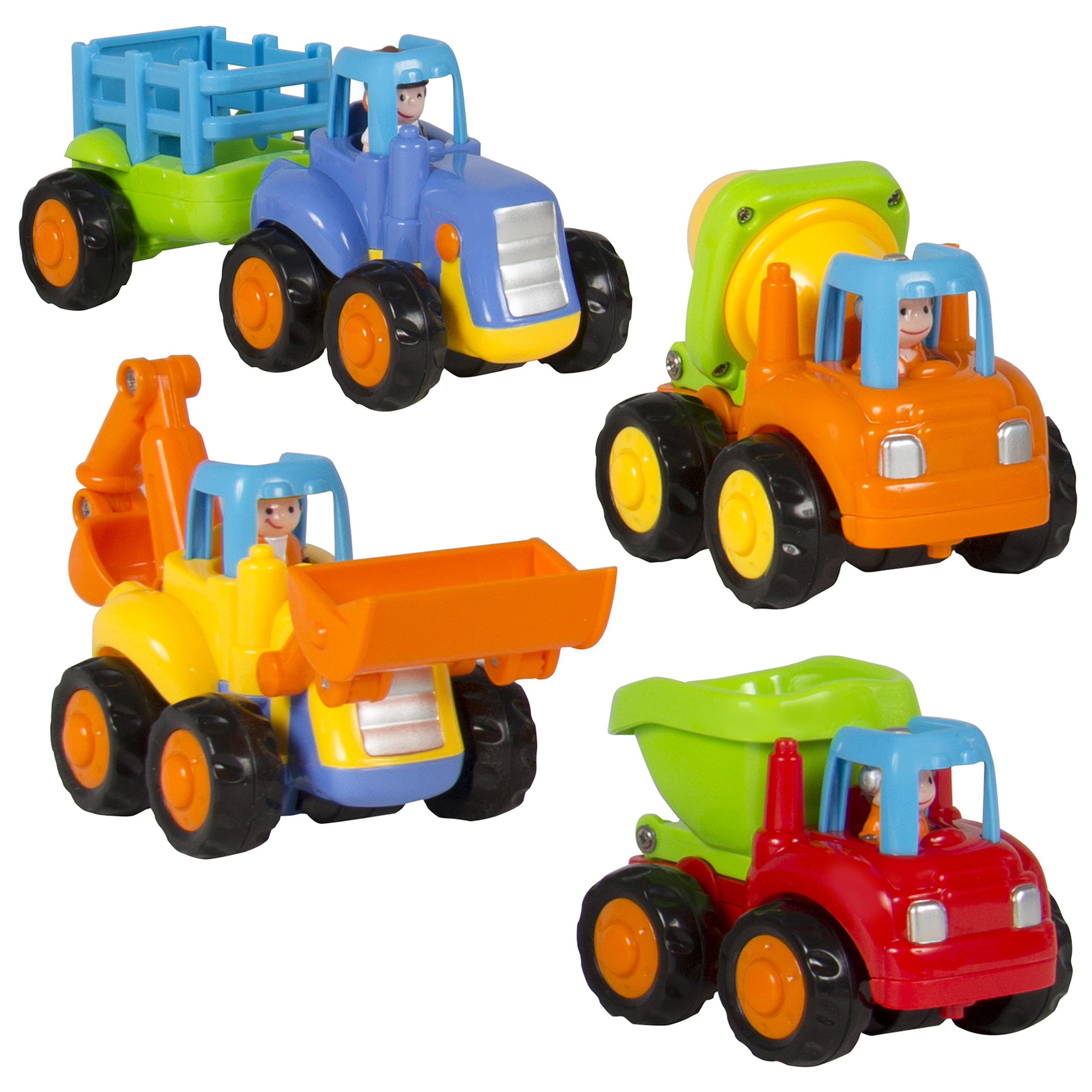 Set of 4 Push and Go Friction Powered Car Toys,Tractor, Bull Dozer truck, Cement Mixer,... by