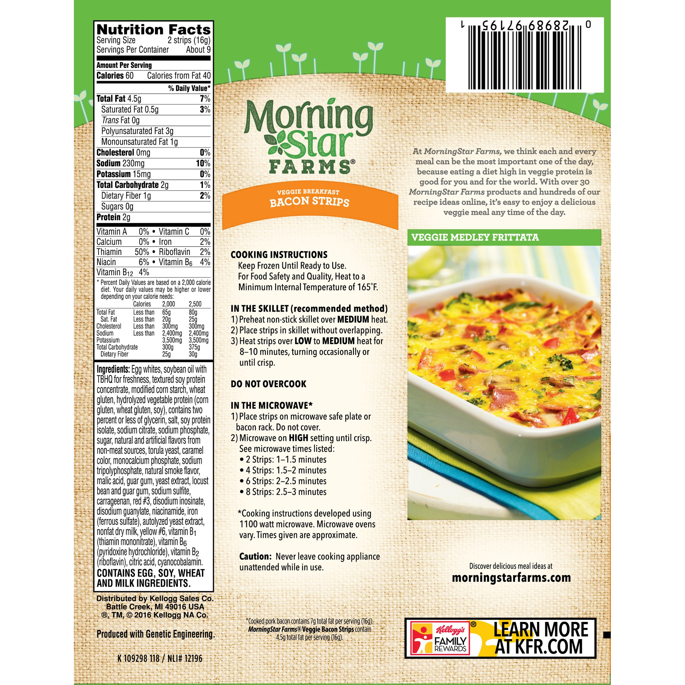 Morningstar Farms Veggie Breakfast Bacon Strips 525 Oz Box Walmart