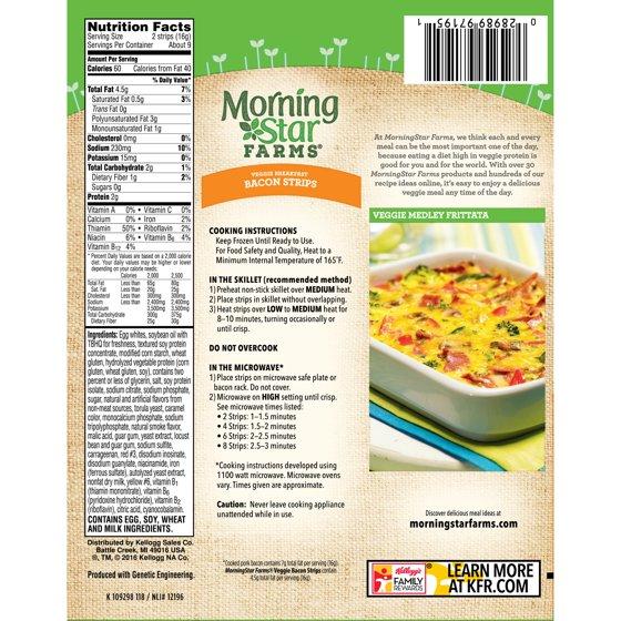 Morningstar Farms Veggie Breakfast Bacon Strips 525 Oz Box