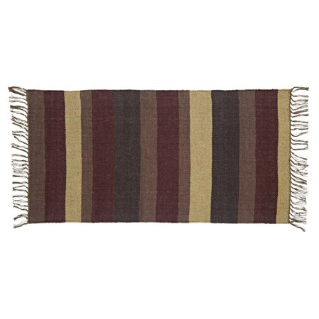 Burgundy Red Rustic & Lodge Flooring Barrington Wool Knotted Tassels Striped Rectangle Accent Rug ()