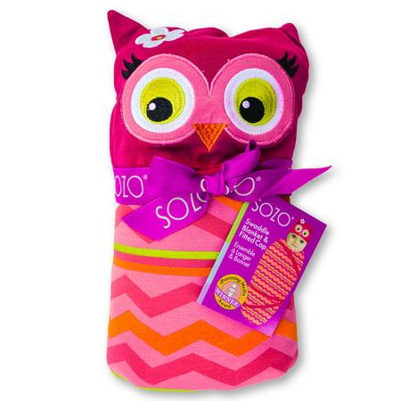 SOZO Owl Swaddle Blanket & Cap Set