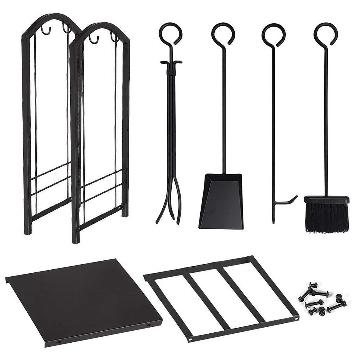 Fireplace Log Holder Foldable Black Storage Carrier of Wood Fire Pit Stove Decorative Holders Accessories IBS Outdoor Indoor Firewood Racks