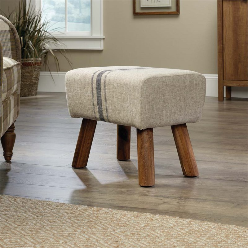 Pemberly Row Accent Stool in Beige Linen