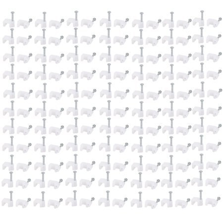 200pcs Steel Nail PE Plastic Square Wire Clip Clamp White