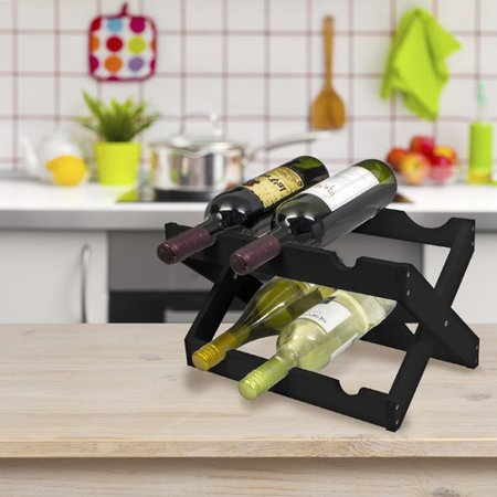 Marble Top Wine Rack (Bamboo Collapsible Countertop Wood Wine Rack, Holds 6 Bottles, Matte Black)