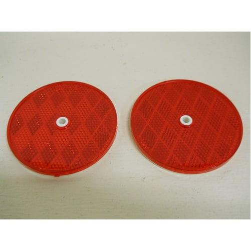 "(2) Red 3"" Round Truck Semi Trailer Mail Box Reflex Reflectors / Center Hole"