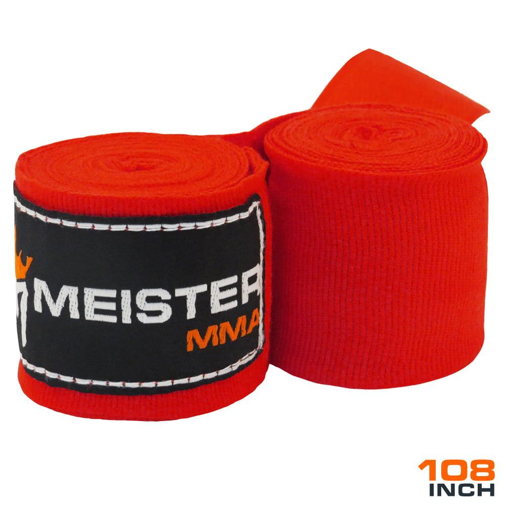 """Meister Junior 108"""" Semi-Elastic MMA Hand Wraps (Pair) - Red"""