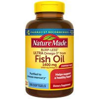Nature Made Burp-Less Ultra Omega-3 from Fish Oil 1400 mg Softgels, 100 Count for Heart Health