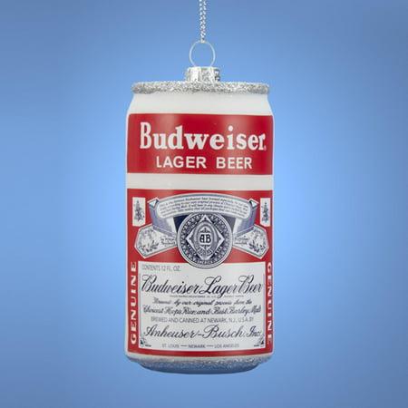 3  Anheuser Busch Budweiser Beer Can Glass Christmas Ornament