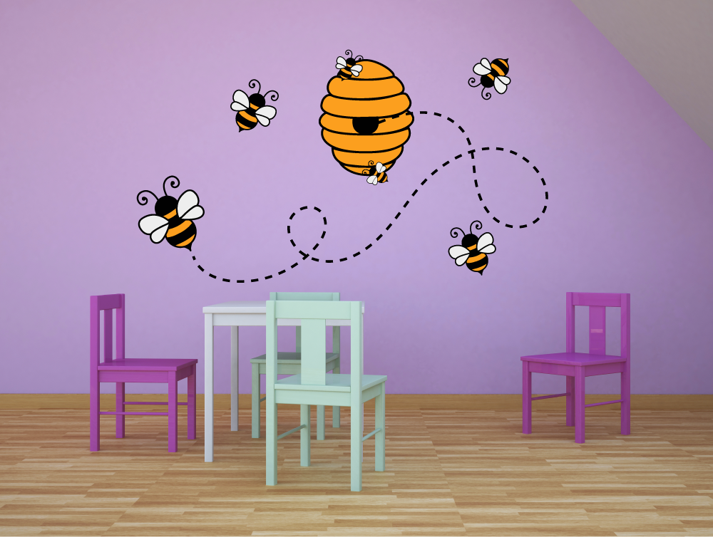 Bumblebee Bee Bees Colorful Honey Animal Decors Wall Sticker Art Design Decal For Girls Boys Kids Room Bedroom Nursery Kindergarten House Fun Home Decor Stickers Wall Art Vinyl Decoration 20x40 Inch