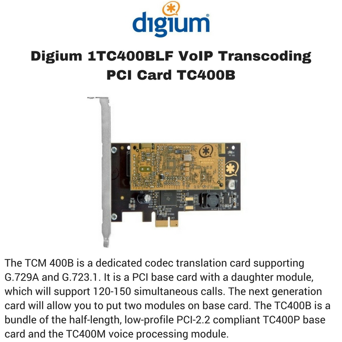 Digium 1TC400BLF VoIP Transcoding PCI Card TC400B