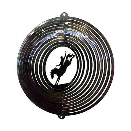 "12"" Wind Spinner Bronco Rider Cowboy Rodeo Horse Garden Patio Art Decor Gift thumbnail"