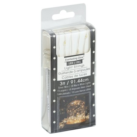 Gerson 36903 - 18 Light 3' Silver Wire Warm White Battery Operated LED Micro Miniature Christmas Light String Set with Timer ()
