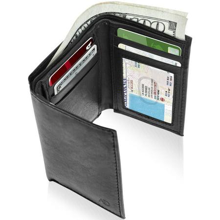 Genuine Leather Trifold Wallets For Men - Mens Trifold Wallet With ID Window Gifts For Men RFID Blocking Leather Businessmans Wallet