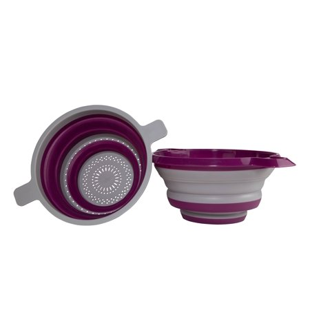 Kitchen Maestro Collapsible Colander and Strainer, Set of 2 Purple Collanders for Pasta, Fruits, Vegetables and More - FDA Approved, BPA Free and Dishwasher Safe (Fruit Strainer)