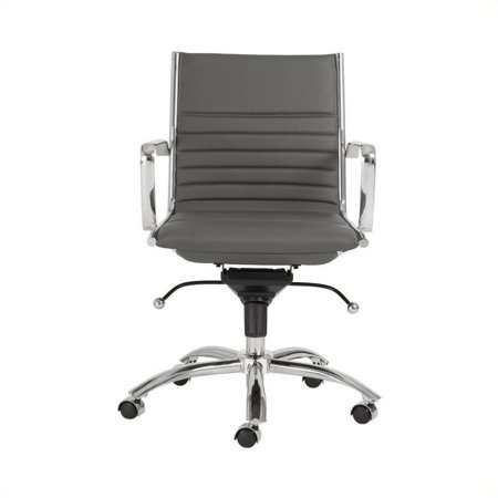 Scranton & Co Low Back Office Chair in Gray/Chrome
